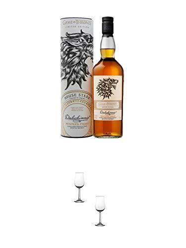 Dalwhinnie Winter's Frost Game of Thrones House Stark Single Malt Whisky 0,7 Liter + Nosing Gläser Kelchglas Bugatti mit Eichstrich 2cl und 4cl - 2 Stück