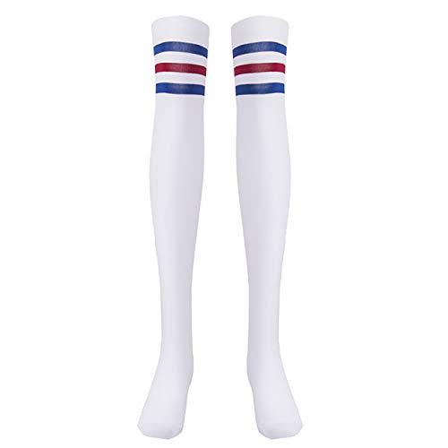 EZSTAX Damen Winter Warme Überknie Strümpfe Baumwollstrümpfe Retro Lange Socken Overknee Sportsocken mit drei Streifen