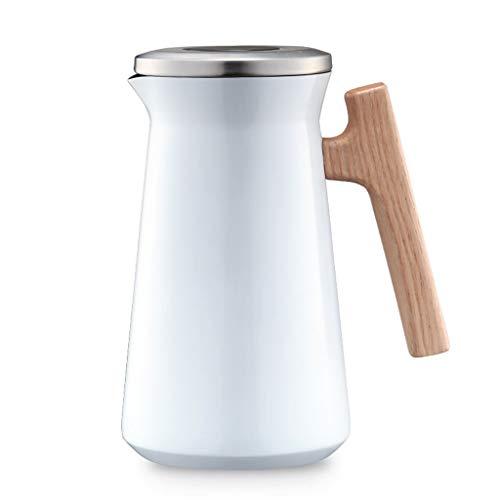 HQSB Isolierkanne, 1L, Edelstahl,100% Dicht,Heiß Und Kalt Dual Gebrauch, Kaffeekanne Thermoskanne (Farbe : Weiß)