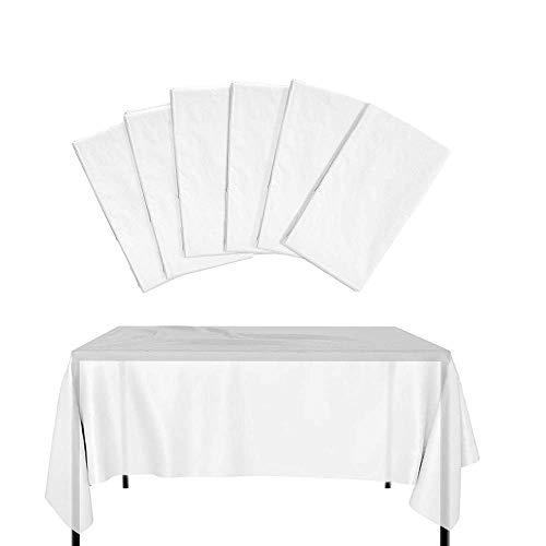 KBNIAN 6 Stück Einweg Tischdecke Große Einweg-Tischdecken aus Weißem Kunststoff Wasserdichtes Verdicktes Rechteckige Plastiktischdecke für Bankette, Geburtstagsfeier, Hochzeits (137 * 274 CM)