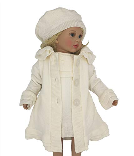 Six for Kids Conjunto de bautizo de niña para ceremonia, vestido de 3 piezas, Blanco 9-12 Meses