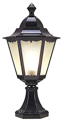 Post Lantern Aplicaciones tradicional E27 Lámpara de columna Patio Colección contemporánea clásica Antigua exterior de vidrio luces de pilar (Color : Black)