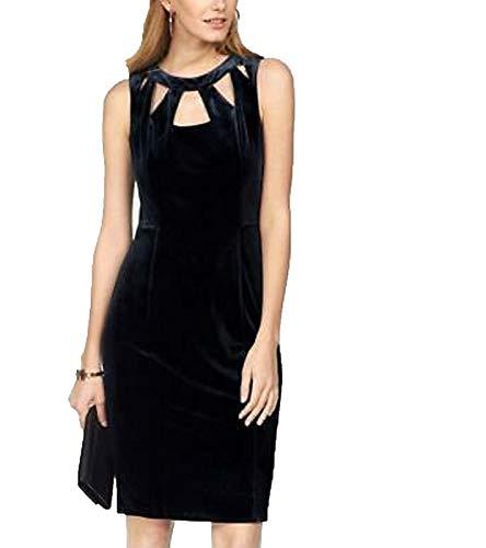 SIENA STUDIO Etui-Kleid gemütliches Damen Abend-Kleid Samt-Kleid Ausgeh-Kleid mit Cut-Outs Nachtblau, Größe:38