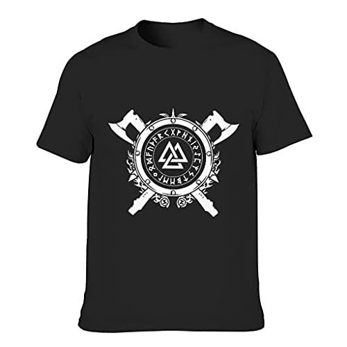 STELULI Camiseta de algodón para hombre, diseño de símbolo vikingo divertido y elegante, ultra suave, manga corta