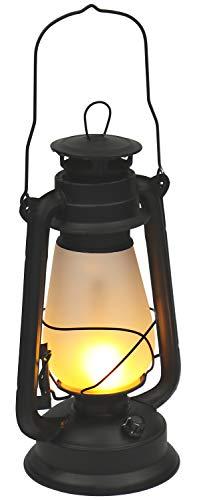 com-four® LED Laterne mit Tragehenkel - LED Sturmleuchte als Dekolicht in schwarz - Lampe im Sturmlaternen-Design für Camping & Garten (1 Stück - schwarz)