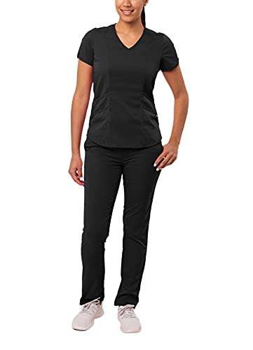Adar Pro Core Classic Scrub Set for Women - Tailored V-Neck Scrub Top & Tailored Yoga Scrub Pants -...