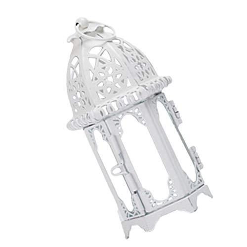 LOVIVER Hierro Forjado Cristal Luz del Viento Portavelas Colgante Linterna Ideal para El Patio Eventos Al Aire Libre Banquete De Boda - Blanco