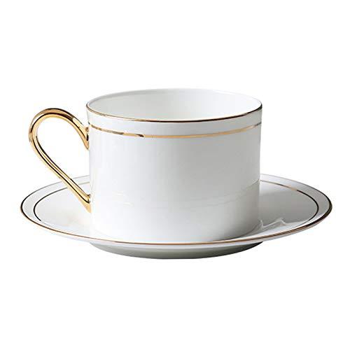 YHshop Taza de café 8.5 oz Taza de café de cerámica de cerámica Taza de té con la línea de Oro Decorativa Taza de cerámica Blanca para la Oficina y el Uso doméstico, recolección Taza de a