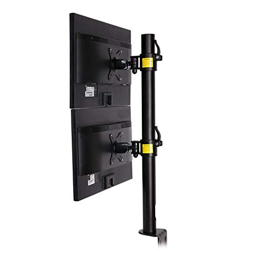 Fleximounts D1DV Full Motion Vertical Dual Desk Mounts Stand for 2 Screens up to 27 inch LCD Monitor...