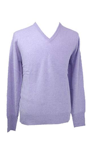 Shephe Men's V Neck Cashmere Sweater Light Purple X-Large
