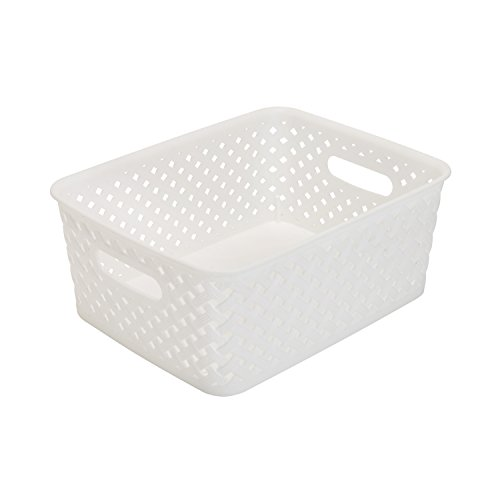 Simplify BinsTotes - Resin Wicker Storage - Small Plastic Storage Containers - Open Handles - White - 10x8x4