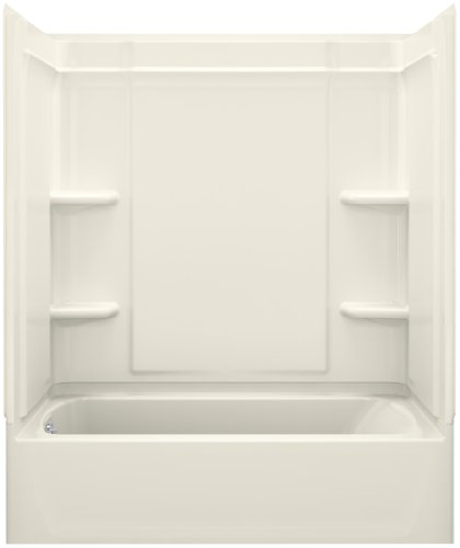 STERLING, a KOHLER Company 71370118-96 Ensemble 31.25-In X 60.25-In X 73-In Bathtub And Shower Kit with Left Hand Drain, Biscuit