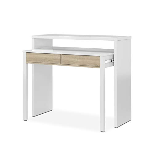 Habitdesign 0F4582A - Mesa Escritorio Extensible, Mesa Estudio Consola, Color Blanco...