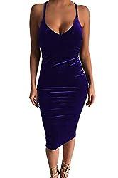 Carprinass Women's Sleeveless Bodycon Midi Dress Velvet Club Bandage Dress