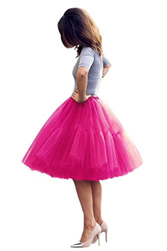 Women's 50s Vintage Rockabilly Tulle Prom Party Tutu Skirt(Rose,One Size)