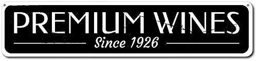 PotteLove Cartel de metal premium Vinos, barra de fecha personalizada desde establecida Curtomizable 10 x 45 cm