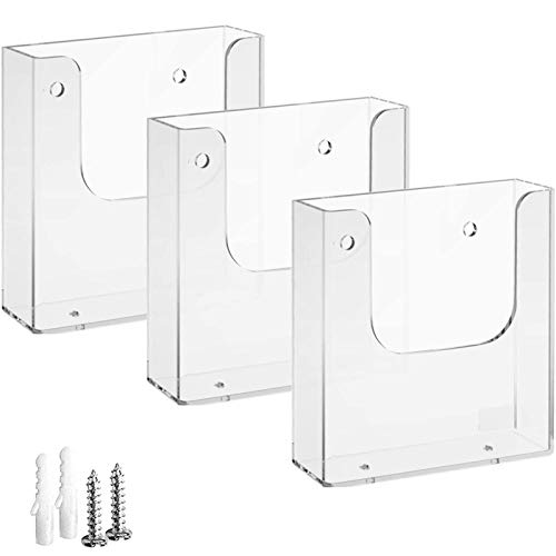 MaxGear Brochure Holder 6 x 9 inches Wall Mounted Literature Holders Clear Flyer Holder Acrylic Hanging Wall Brochure Holders, 3 Pack, Clear