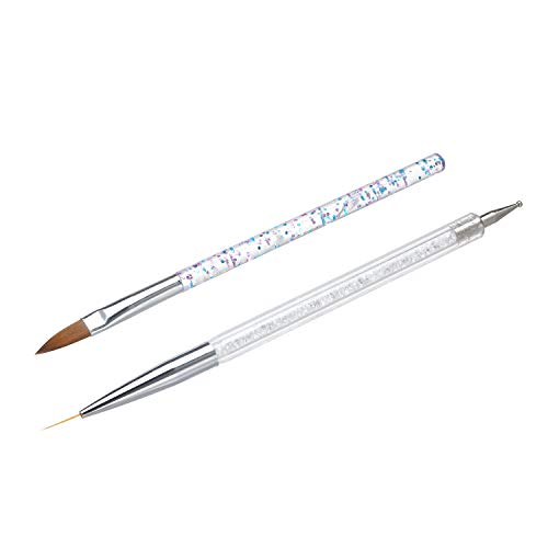 Benkeg Kit de Pinceaux Nail Art, 10 Pcs Nail Art Brushes kit Dual-End Nail Liner Pen Nail Dotting Pen Nail Art Tips Builder Acrylique Strass Poignées