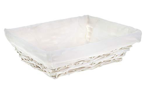 HERSIG - Bandeja Mimbre Natural   Cesta Rectangular con Forro, sin Asas - 35 x 25 x 9 cm - Blanco