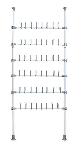 WENKO Teleskop-System Herkules Shoes - verstellbares Ordnungssystem, Schuhregal, Stahl, 94 x 165-300 x 9 cm, Weiß