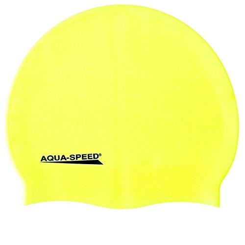 Aqua Speed Schwimmkappe Super-Stretch | Badekappe Mädchen Jungen | Bademütze wasserdicht | gelbe Badehaube | Silikon Schwimmmütze Sport | Schwimmen | Waterproof Swim Cap | gelb 18 | Mega