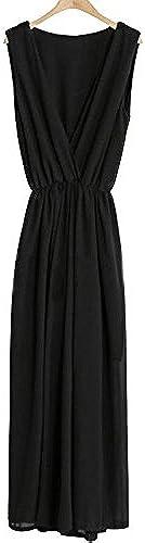 ZLL Lache sans Manches Longues en Mousseline de Soie Jumpsuit Jambes grands Taille Siamois Pantalon féminines