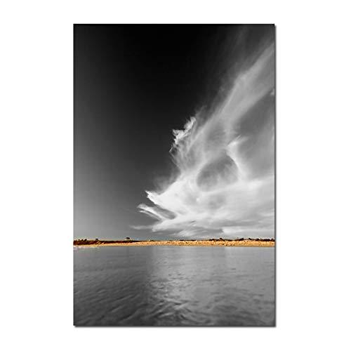 YuanMinglu Rahmenlose malerei Wolke Meer Strand Kunst Poster leinwand Wand Wohnzimmer schwarz und weiß malerei seelandschaft Moderne dekorative malerei 30x45 cm