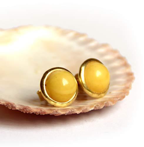 MJ Baltica Pendientes artesanales de plata 925 bañada en oro de 14k y ámbar natural BZK010
