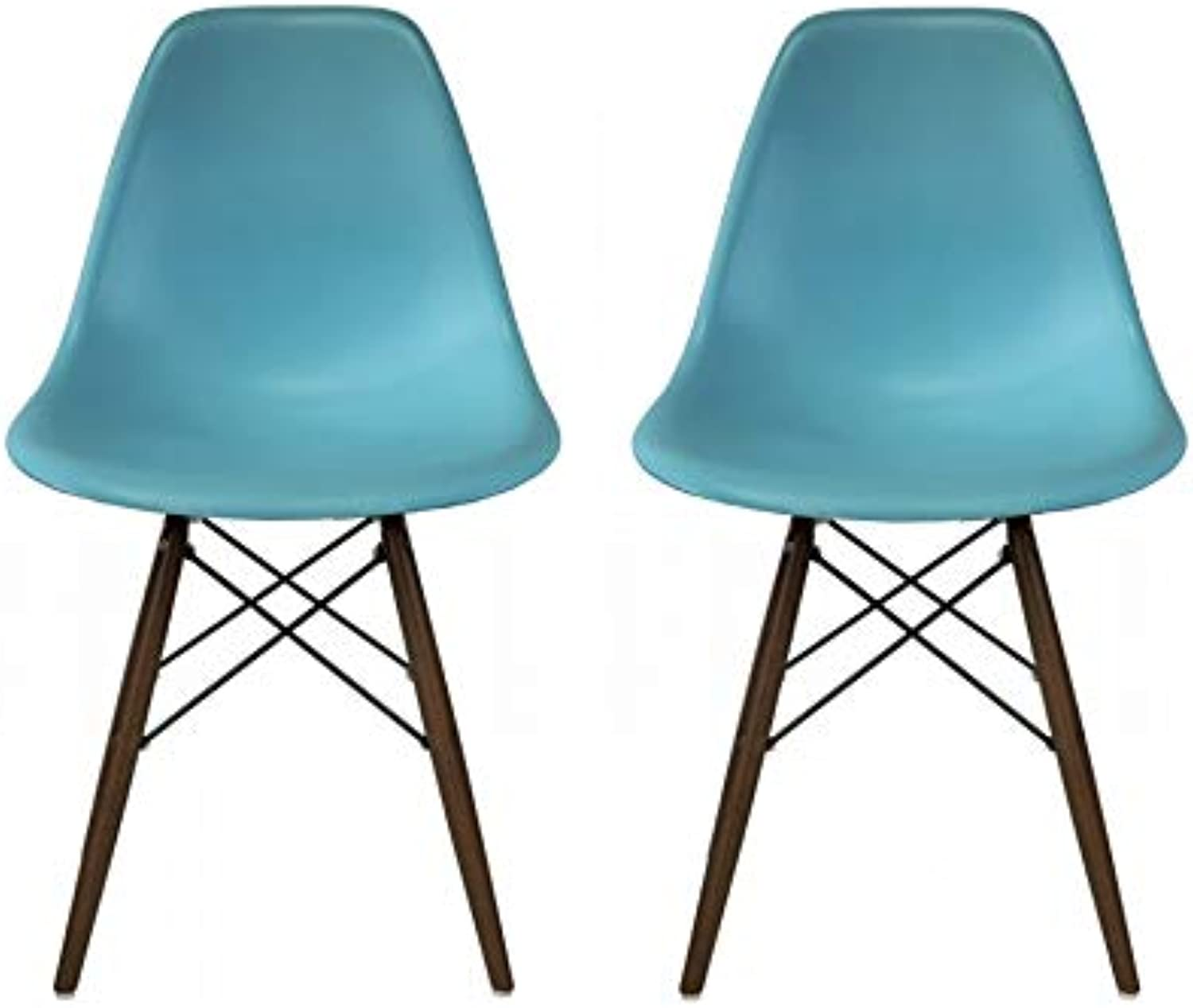 Take Me Home Furniture Eames Style Side Chair with Walnut Wood Legs Eiffel Dining Room Chair - Set of 2 (bluee)