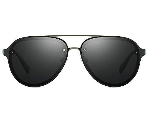60mm Aviator Polarized Sunglasses Vintage Retro Semi-rimless Teardrop Frame (Black, 60)