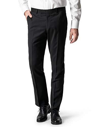 Walbusch Herren Biella Anzug Hose Super100 einfarbig Schwarz 54