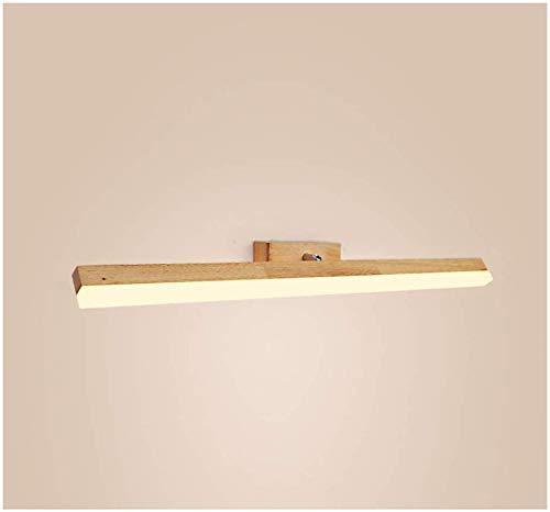 Nordic houten spiegel koplampen, moderne minimalistische energiebesparende badkamer toilet dressoir lamp lange nachtspiegel kabinet verlichting (kleur: wit licht, maat : 80cm)