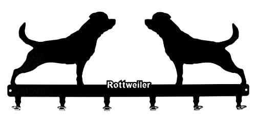 Wandgarderobe ' Rottweiler ' - Hundegarderobe 60 cm - Kleiderhaken Hundemotiv, Hakenleiste, Leinenhalter, Garderobe - Metall, schwarz