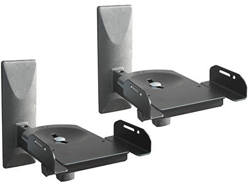 DRALL INSTRUMENTS 2 Stück (Paar) Wandhalterung für Lautsprecher Boxen - bis 12 kg belastbar - Boxenhalter für Audio Speaker - Neigbar Schwenkbar Drehbar - Wandhalter verstellbar schwarz Modell: BH5x2