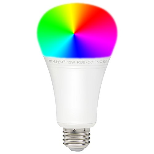 LGIDTECH FUT105 Miboxer 12W RGBWW Smart 2.4GHz RF WiFi LED Light Bulb E26 RGB+CCT Color Changing,Color Temperature Adjustable,Must Work with Remote(Not Included)Or Smartphone APP Control Via WiFi Hub