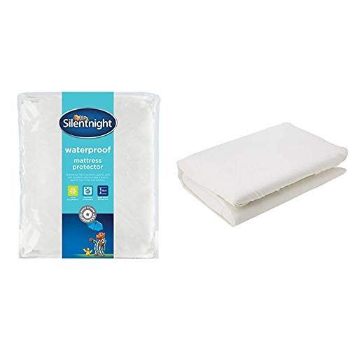 Silentnight Waterproof Mattress Protector Plus, Polyester, White, King & Amazon Basics Microfibre Fitted Sheet, King, Cream