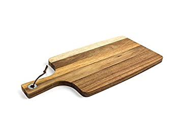HomePro Premium Acacia Wood Cutting Board with Handle Wood Serving Board Cheese Board Pizza Peel Paddle Charcuterie Board Best Chopping Board for Vegetables Meat Cheese  16.5 x 7.8 inches