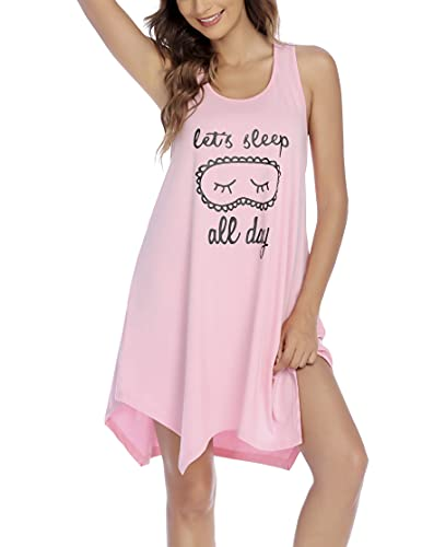 Ekouaer Women's Tank Nightgowns Chemise Raceback Sleeveless Nightshirt Cute Printed Sleepwear Round Neck Sleep Shirts Sleep Dress Pink