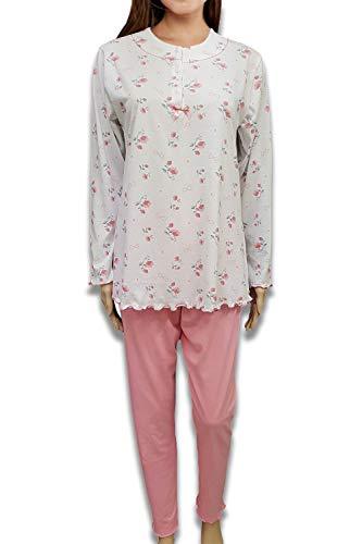 Pijama de mujer de algodón CRV Cravana de manga corta y larga, pantalón largo y corto, pijama corto Marcela, producto italiano Mada en Italia 21 Sofia ML 07 Rosa L