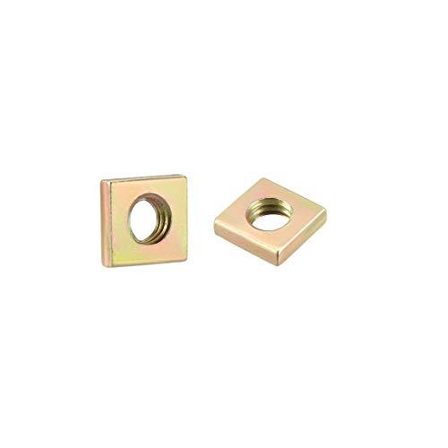 uxcell Square Nuts, M4x7mmx2mm Yellow Zinc Plated Metric Coarse Thread Assortment Kit, 50 Pcs