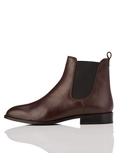 find. Leather Stivali Chelsea, Rosso Plum), 39 EU