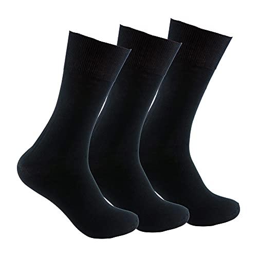 Calcetines ejecutivos de BAMBÚ (3 pares) sin goma y sin costuras, cómodos y transpirables. Calcetines ejecutivos de hilo de bambú para vestir muy ligeros, frescos y muy elegantes. (40-45, Negro)