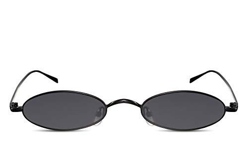 Cheapass Gafas de Sol Pequeñas Ovaladas Negras Montura Metálica Cristales Oscuros Gafas Festival para Mujer
