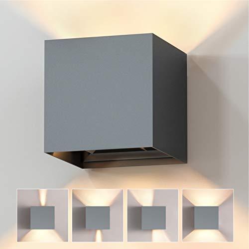 Lampada da Parete Decorativa 12W Applique da Esterno Interno LED Moderno Lampada da Parete in Alluminio Muro Bianco caldo Angolo di luce Regolabile IP65 Impermeabile 3000K