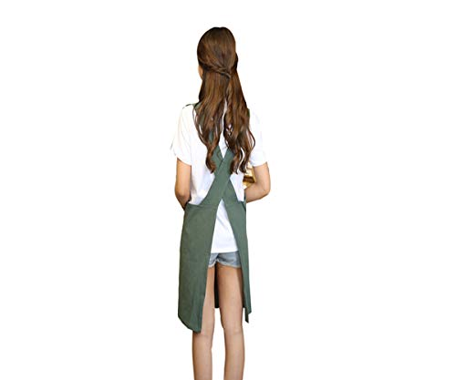 KKTech Chef Apron with Front Pockets, Japanese Style Apron, Unisex Bib Kitchen Apron, Soft Cotton Linen Apron, Perfect for DIY Project, Crafting, Cooking, Baking, BBQ (Strap H Style-, Green)