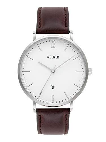 s.Oliver Time Herren Analog Quarz Uhr mit Leder Armband SO-3617-LQ