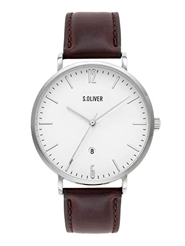 s.Oliver Time Herren Analog Quarz Uhr mit Leder Armband SO-3617-LQ