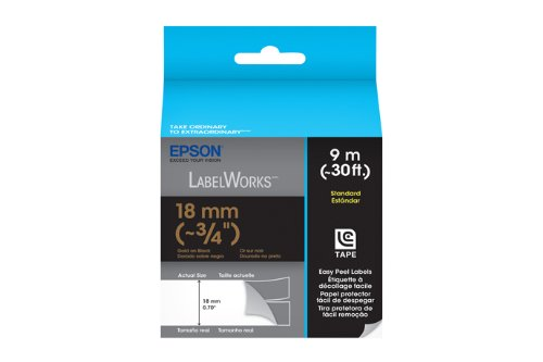 Epson LabelWorks Standard LC Tape Cartridge ~3/4-Inch Gold on Black (LC-5BKP9)