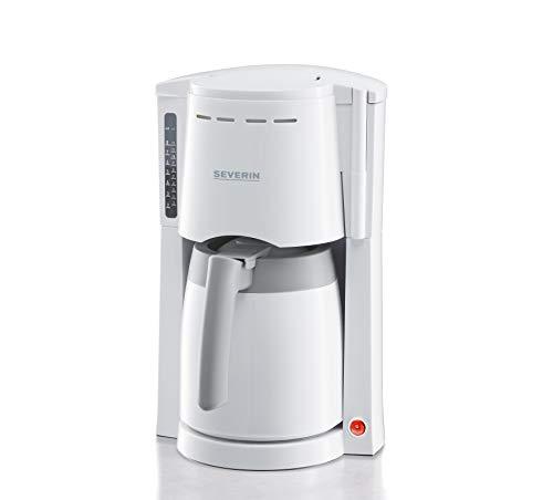 SEVERIN Kaffeemaschine, Für gemahlenen Filterkaffee, 8 Tassen, Inkl. Thermokanne, KA 4114, Weiß/Grau
