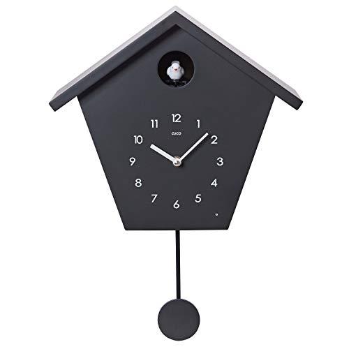 Cuco Clock Kuckucksuhr Schwarzwaldhaus mit Pendel Wanduhr Design modern Pendeluhr Kuckuck Uhr Holz Zeit Nachtruhe Chronometer
